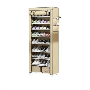 Armoire Chaussures 10 Couches avec Housse Beige